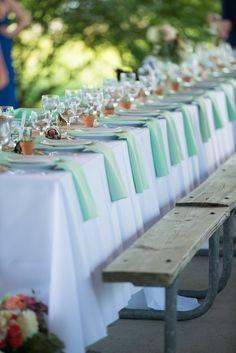 Picnic Tables Elegantly Set for Wedding Reception