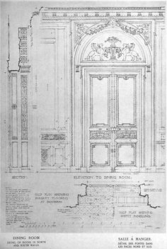 12 Elevation detail of the Dining Room at the Petit Trianon, Versailles Architecture Mapping, Classic Architecture, Architecture Drawings, Architecture Plan, Architecture Details, Historical Architecture, Classic Interior, French Interior, Palace Interior