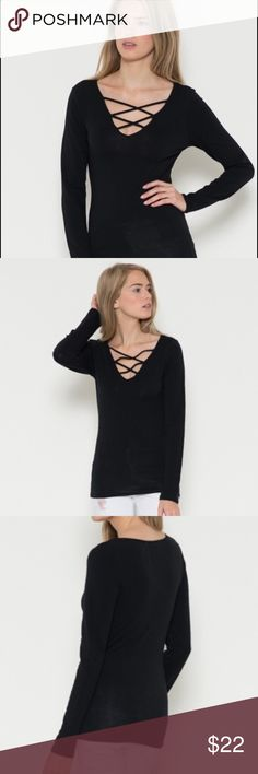 Coming soon. Long sleeve shirt with a criss cross strap v-neck line.   Fabric Content: 60% Cotton 35% Rayon 5% Spandex  ❌Trades ✅ Price Firm ✴️ Bundles Save 20% Tops Tees - Long Sleeve