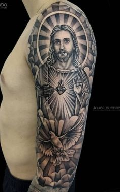 Coolest Forearm Tattoo Men Sleeve Trend For You ~ Magazzine Fashion Tattoos Arm Mann, Forarm Tattoos, Forearm Sleeve Tattoos, Best Sleeve Tattoos, Tattoo Sleeve Designs, Arm Tattoos For Guys, Chicano Tattoos, Jesus Tattoo Sleeve, Religious Tattoo Sleeves