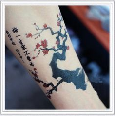 Tattoo temporary, Long lasting tattoo - flower tattoo, Japanese apricot flower. $6.50, via Etsy.