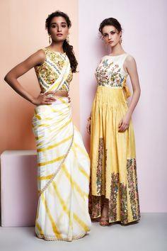 Lehria saree (L) Maxi dress back bow (R)