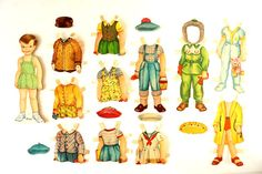 Vintage Paper Doll Polly and Peter with Clothing by ThirdShift