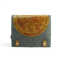 Leather iPad case - iPad and purse - iPad covers - iPad Sleeve - Handmade felt iPad - Vintage Hole Punch Design -E559B
