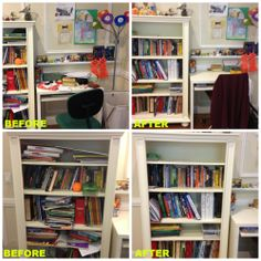 A teen desk and bookshelf needed decluttering and reorganization to create the proper study space.