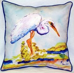 Each one of these whimsical egret beach house indoor-outdoor pillows is a…