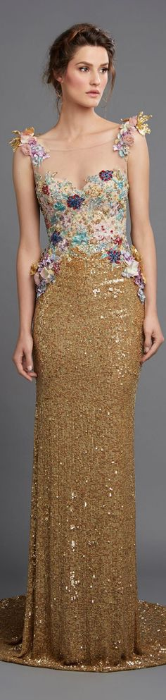 Hamda Al Fahim ~ Spring Floral Applique Gold Sequined Gown 2015