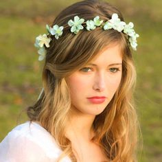 long hair wedding hairstyles down flower crown - Google Search