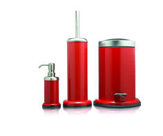 Freestanding Coordinated Bathroom Accessory Set Acero Red With Soap Dispenser Toilet Brush And Holder