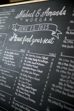 Seaside Boston Wedding - Seating Chart Chalkboard