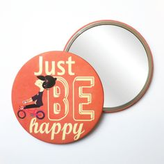 Round Pocket Makeup Mirror - Just Be Happy Free Black, Black Mirror, French Artists, Cute Illustration, Small Gifts, Pocket, Makeup, Prints