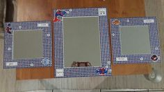 Blue and red mosaic mirrors for bathroom.