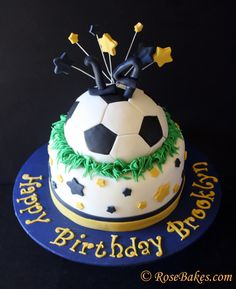 Soccer Ball & Stars Cake (for a boy or girl! Click over to see more pics and read all the details! Soccer Birthday Cakes, 14th Birthday Cakes, Birthday Cake Girls, Football Birthday, Soccer Ball Cake, Soccer Cakes, Soccer Party, Fondant Cakes, Cupcake Cakes