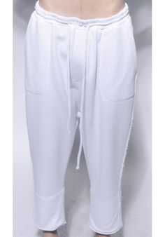 "DAVID ROAD ""WHITE WIDE TROUSERS WITH SIDE DETAILS"" 100% COTTON : 220 € -30% >> 154 €"