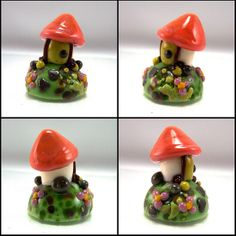Small gnome house lampwork cabochon by Julie Bowen | AutEvDesigns