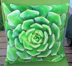 Throw cushion cover / pillow case, succulent art double sided photo print, home decor, soft furnishing, Kissenhülle Sukkulente