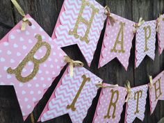 Pink and Gold Birthday Banner, Pink and Gold 1st Birthday Banner, Girl Birthday Banner, Pink and Gold Party Decor. on Etsy, $28.00