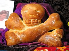 pan de muerto, Mexican Day of the Dead special bread.
