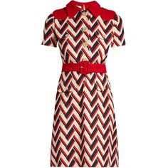 Gucci Chevron-print wool and silk-blend dress ($3,700) ❤ liked on Polyvore featuring dresses, gucci, red multi, waist slimming belt, red wool dress, red dress, retro style dresses and red waist belt