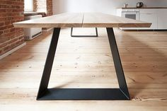 'Colt' - solid oak dining table with steel powder base extendable if needed! Solid Oak Dining Table, Steel Dining Table, Dining Table Legs, Oak Table, Esstisch Design, Concrete Table, Industrial Table, Metal Furniture, Interior Decorating