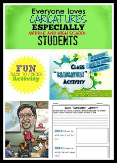 Caricature Activity for Middle School and High School Students - Fun Back to School Activity