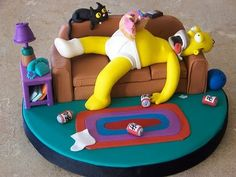Homer Simpson Passed Out Cake Bolo Simpsons, The Simpsons, Homer Simpson, Fancy Cakes, Cute Cakes, Fondant Cakes, Cupcake Cakes, Cupcakes Decorados, Cake Wrecks