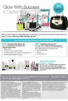 You can start your OWN business TODAY with Mary Kay for as low as $50! Call, text or message me for details. Brandi with MaryKay