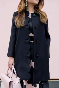 kate spade new york black scallop coat by @jennifer_lake