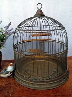 Old Hendryx Bird Cage  1920s  Brass by greatoldcountryfinds