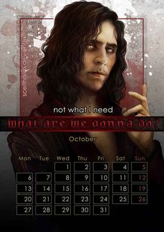 October: Tom Hiddleston as Adam in Only Lovers Left Alive .   The Gorgeous 2014 Calendar That Every Nerd Needs In Their Life