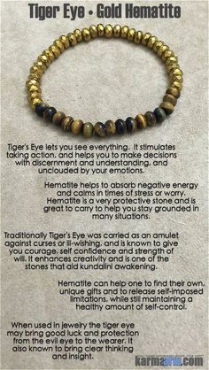 MANTRA: I will calm my busy mind and manifest focus. - 4x6mm Tiger's Eye Gemstone Rondelles - 4x6mm Faceted Gold Hematite Gemstone Rondelles - Commercial Strength, Latex-Free Elastic Band - Handcrafte