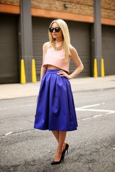 Gorgeous light pink crop sleeveless blouse with royal blue pleated lon skirt and black high heels ladies pumps and golden necklace the best ...
