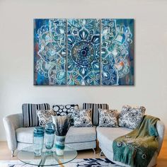 Mandala in Blue II Multi Panel Canvas Wall Art by ElephantStock is printed using High-Quality materials for an elegant finish. We are the specialists in Modern Décor canvas prints and we offer 30 day Money Back Guarantee Panel Wall Art, Diy Wall Art, Diy Wall Decor, Multi Canvas Painting, Canvas Wall Art, Acrylic Wall Art, Blue Canvas, Canvas Prints, Creative Wall Decor