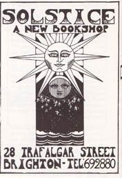 1978 North Laine Runner ad for Solstice bookshop, 28 Trafalgar Street.