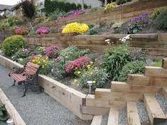 Bilderesultat for side sloped backyard landscaping