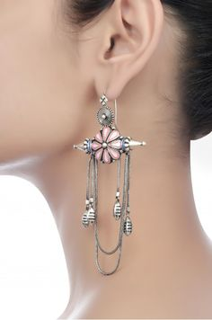 Beautiful pink enamel flower earrings with spikes and hanging tassels Fancy Jewellery, Silver Jewellery Indian, Trendy Jewelry, Unique Jewelry, Silver Jewelry, Silver Ring, Silver Cuff, Men's Jewelry, Silver Necklaces