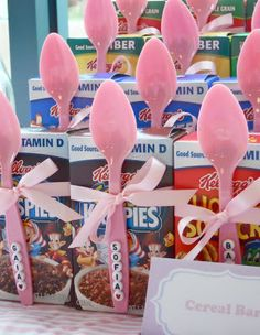 Pajama Party dessert table cereal bar with personalized spoons...oh my, this is so cute!!!