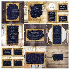 Organise a memorable event with my navy blue and antique gold constellation and astronomy themed wedding and party decor. All items can be customised for all kinds of events. Copyright © Soumya's Invitations | Visit www.soumyasdesigns.com for more celestial items! #starrynightweddinginvitations #starrynightweddingtheme