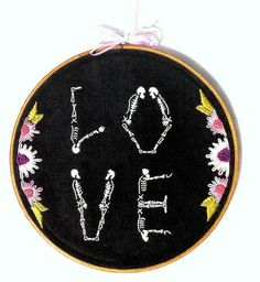Hand embroidered flowered Skeleton Love