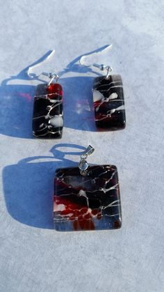 Fused Glass Pendant Set by GlassFusionsByKerry on Etsy