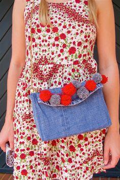 Heartfelt Hunt - Denim Pompon Bag - Flower dress, flower sweater, red espadrilles, Mykita sunglasses, diy denim pompon bag and two blonde pigtail braids