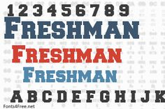 Freshman font is a fancy, old-school font designed by William Boyd. Freshman font is free for both personel and commercial usages. Old School Fonts, Silhouette Cameo Projects, Freshman, Cut Outs, Cricut, Craft Ideas, Tattoos, Tatuajes, Freshman Year