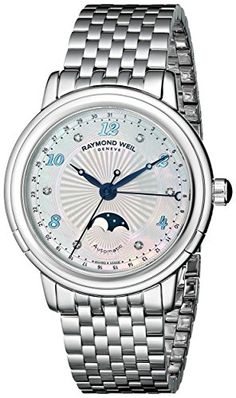 Raymond Weil Women's Maestro Analog Display Swiss Automatic Silver Watch Stainless Steel Watch, Stainless Steel Bracelet, Raymond Weil, Bracelet Clasps, Diamond Bands, Cool Watches, Chronograph, Jewels, Gemstones