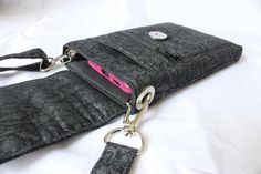 Cell phone bag mobile phone bag small crossbody purse across the body bag in black with silver shimmer by Tracey Lipman