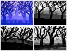 In classes of Grade year-old) we have painted a forest of trees without preliminary drawing, using directly the brushes and the acrylics paints on the white paper. Elementary Art Lesson Plans, Art Education Lessons, School Lessons, Primary School Art, 7th Grade Art, School Painting, Jr Art, Ecole Art, School Art Projects