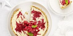 Christmas Berry Swirl Cheesecake via @iquitsugar