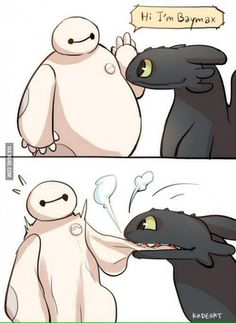 Baymax and Toothless