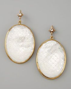 Etched Mother-of-Pearl Drop Earrings by Stephen Dweck at Bergdorf Goodman.