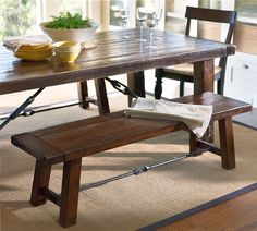 POTTERY BARN BENCHWRIGHT FIXED DINING ROOM TABLE AND BENCHES