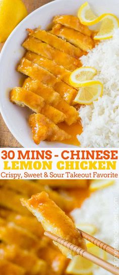 Chinese Lemon Chicken is the classic Chinese takeout recipe cooked with coated c. Chinese Lemon Chicken is the classic Chinese takeout recipe cooked with coated chicken breast in a sweet and sour lemon sauce in just 30 minutes. Chinese Lemon Chicken, Chinese Chicken Recipes, Easy Chinese Recipes, Asian Recipes, Healthy Recipes, Chinese Meals, Lemon Chicken Recipes, Lemon Recipes Dinner, Gluten Free Chinese Food